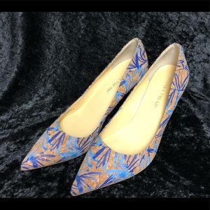 "Ivanka Trump Cork w/blue design shoes sz 9M 3""heel"